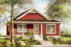Decorative wood trim under the front gable draws your eyes to this petite c House Plans One Story, Shop House Plans, Small House Plans, House Floor Plans, Cottage House Plans, Country House Plans, Cottage Homes, Red Cottage, 2 Bedroom House Plans