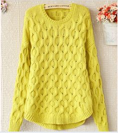 Cheap sweater coat women, Buy Quality women fashion sweater directly from China sweater boots for women Suppliers: Hot 2014 East Knitting Long Sleeve Sweaters For Women 2014 Vintage Totem Loose Pullovers Short Knit wears Top Sal Loose Sweater, Long Sleeve Sweater, Sweater Boots, Hand Knitted Sweaters, Pullover Sweaters, Knit Baby Dress, Yellow Sweater, Knit Fashion, Cable Knit