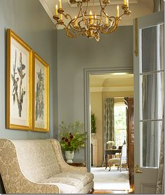 Holden and Dupuy... Paint colour, gold framed art, light, doors... Trim... Perfect hallway.... Fabric!,