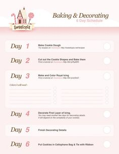 Cookie Baking and Decorating ~ Long Schedule {free printable}