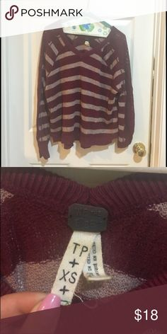 *re-list* free people slouchy striped sweater Cranberry free people striped sweater with lace details on the sleeve Free People Sweaters V-Necks
