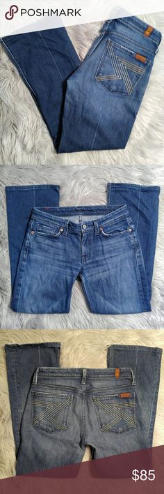 """7 for all Mankind Flynt Jeans 7 for all Mankind Flynt Jeans Size 27 with a 14"""" waist and 28"""" inseam, perfect for a shorter lady. These are in EUC and have been worn very little. 7 For All Mankind Jeans Boot Cut"""