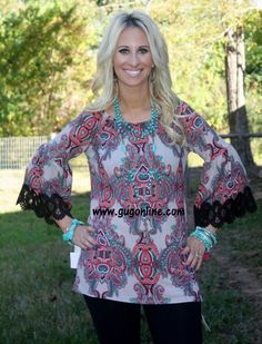 Take A Breath Paisley Top in Grey with Black Trim