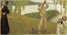 Kevät, esityö Juséliuksen mausoleumin freskoa varten, 1903. Lasten malleina olivat Gallen-Kallelan lapset Jorma ja Kirsti.