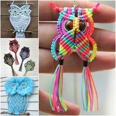 How adorable are these diy macrame owl jewelry