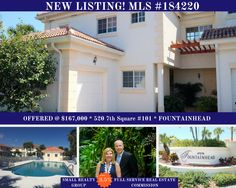 NEW LISTING IN FOUNTAINHEAD! Easy living awaits in this delightful end unit main floor condo. 2 bed 2 bath + den! Spacious rooms, lots of tile, modern kitchen, impact windows, more! Backs to pond/fountain, steps from amenities/pool. Contact Kim and Ron Small of The Small Realty Group for all your real estate needs in and around Vero Beach! 772.480.4660