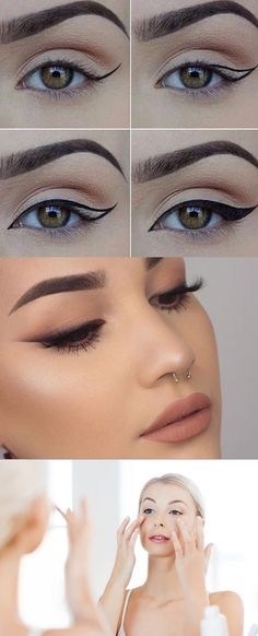25 Must Know Eyeliner Hacks -How to Perfect the Cat Eye -Winged Looks and Easy Makeup Tricks and Guides for Liquid Pencil and Gel Styles. Step by Step Tutorials with Pictures using Tape or a Spoon thegoddess.com/eyeliner-hacks