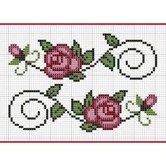modelo grafico ponto cruz flores simples