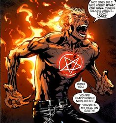 Seeking to acquire influence on Earth, the demon lord Marduk Kurios sired a son with a human woman. That son became Daimon Hellstrom, who rejected his father's plans, traveled to the infernal realms himself, and stole his father's Netheranium trident, which allowed him to tap into his own vast mystical abilities. In order to control the dark side of his heritage, Daimon became an expert in sorcery and the occult, as well as a powerful warrior in the fight against Demonkind.