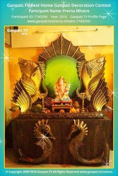 Prerna Mhatre Home Ganpati Picture 2016. View more pictures and videos of Ganpati Decoration at www.ganpati.tv