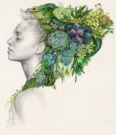 """Jade' - Colored pencils Erica Rose Levine - Brooklyn based illustrator"
