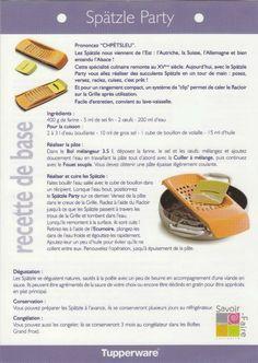 Fiche recette Spätzle Party - Tupperware