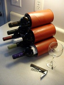 diy wine rack made out of coffee cans