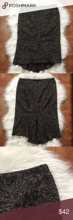 """BCBGMaxAzria Janice fishtail skirt Brown and black tweed skirt with a cute fishtail back detail •  fully lined • in excellent preowned condition • approximate measurements waist 14.5, hip 17.75"""", front length 22.5"""" back length 26""""• 52% wool, 32% silk 10% nylon 4% polyester 2 other fibers BCBGMaxAzria Skirts Pencil"""