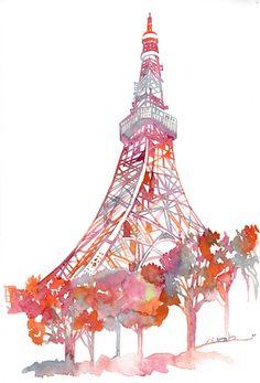 Eiffel Tower in watercolor