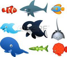 Segundo conjunto de iconos de vida marina, con nueve animales marinos diferentes como, peces, tiburones, delfines, ilustraci�n vectorial ballena. photo