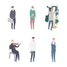 Theatre - Behind the Scenes by Guillaume Kurkdjian, via Behance Architecture People, Architecture Graphics, Architecture Drawings, People Illustration, Flat Illustration, Character Illustration, People Png, People Icon, Sketches Of People