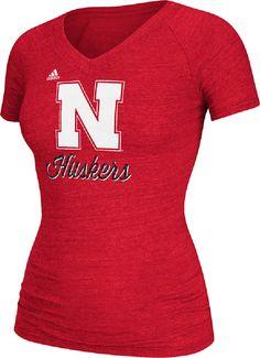Womens Nebraska Cornhuskers Red Psycho Ego V-Neck Tee Shirt by Adida  Nebraska Cornhuskers-View All Apparel a1b6a7af7