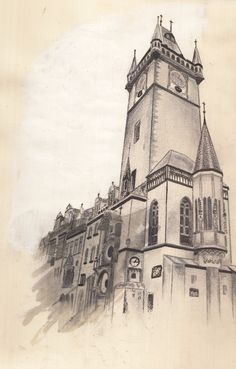 Prague - European architecture brief - November 2015 - Drawing using pencil and pen connecting to Zachary Johnson