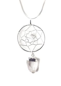 For the dreamers, this stunning little necklace is made with a silver web pendant, adorned with quartz crystal point, strung on silver chain. Perfect layering piece! Features a lobster claw style class and is adjustable up to 2 inches.