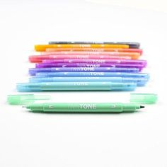 Brand: Tombow Color: Pastel Features: - Double-sided marker creates thick or thin lines with two tip Choices - broad Bullet tip for bold lines or Extra-Fine tip for detailed, precise lines - Long lasting fibber tips maintain shape after repeated use - Water-based ink doesn't bleed through most papers - Perfect for color-coding and decorating planners, journals and notebooks - Bullet tip 0.8mm & Extra-Fine tip 0.3mm Publisher: American Tombow, Inc. Details: Double-sided marker creates thick…