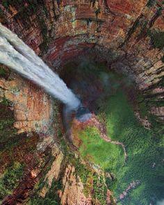 Follow @nature for more. Churun-meru (Dragon) Waterfall, Venezuela. Photo by @rccam airpano.com #nature