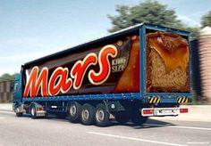 Photos of funny truck ad designs are just mind blowing. The artist behind the designs are very creative and show what creative advertising looks like Advertising Awards, Clever Advertising, Mars Bar, Chocolate Brands, Commercial Ads, Funny Ads, Big Rig Trucks, Semi Trucks, Truck Art