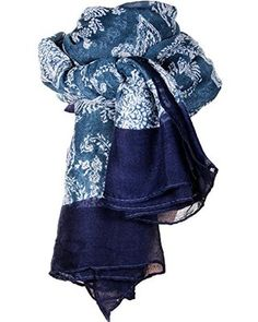 JewelryWe Neu Mode Bohemian-Stil Elegante Retro Druck lange große Schal HALSTUCH TUCH SOMMERSCHAL Loopschal Damen Geschenke
