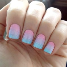 Nail ideas for spring. Pink and blue nails #nailart