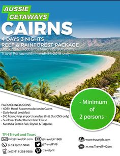 4D3N CAIRNS FREE & RAINFOREST PACKAGE (Land Arrangement Only) Minimum of 2 persons to travel  For more inquiries please call: Landline: (+63 2)282-6848 Mobile: (+63) 918-238-9506 or Email us: info@travelph.com #Australia #TravelPH #TravelWithNoWorries Hotel Breakfast, Round Trip, Cairns, Australia Travel, Tours, Free, Australia Destinations