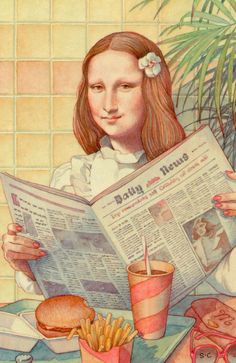 Mona Lisa with fries-- Mona Lisa Parodies #Joconde