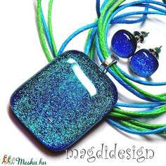 Tengerkék csillogás üvegékszer szett, nyaklánc, pötty fülbevaló  (magdidesign) - Meska.hu Headphones, Headpieces, Ear Phones