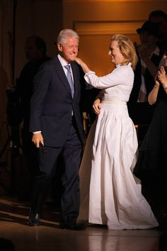 Meryl Streep greeted former president Bill Clinton at the Revlon Concert for the Rainforest Fund at Carnegi...