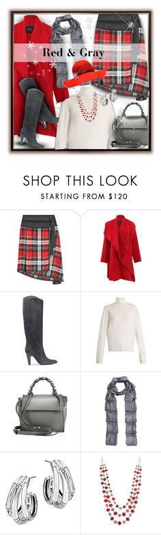 """Red & Gray (Boots & Bag)"" by franceseattle ❤ liked on Polyvore featuring Public School, Lanvin, Giuseppe Zanotti, Balenciaga, Elena Ghisellini, Burberry and John Hardy"