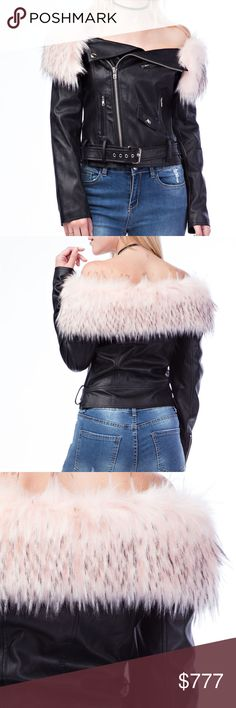 LTD QTY!! Sassy Off Shoulder Faux leather jacket Brand new Boutique item  Grab this sexy and edgy leather jacket with removable pink fur collar to rock all season long!!! Pair with ripped up jeans for a HOT look!! This fully lined jacket feature fabulous zipper details, mini pocket detail, and belted detail Jackets & Coats