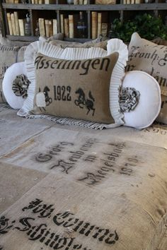 feed sack spread - luv it! Burlap Sacks, Hessian, Burlap Bedroom Decor, Coffee Bean Sacks, House Essentials, Burlap Crafts, Grain Sack, Feed Sacks, Linens And Lace
