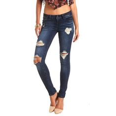 "Charlotte Russe Refuge ""Boyfriend"" Dark Wash Destroyed Jeans (46 CAD) ❤ liked on Polyvore featuring jeans, pants, bottoms, dark wash denim, ripped denim jeans, ripped skinny jeans, destructed boyfriend jeans, distressed jeans and skinny jeans"