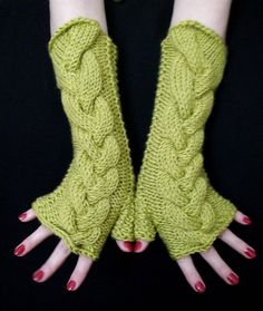 Fingerless Gloves Lime Apple Green Cabled  Wrist by LaimaShop, $39.00