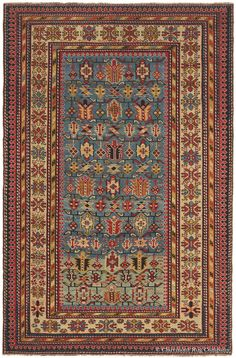 Caucasian Daghestan, 4ft 2in x 6ft 4in, Circa 1875.  Exceptional clarity and the shifting hues from exotic azure to sky blue to an almost-never-encountered aquamarine bring tremendous presence to this magnetic antique carpet from the Daghestan region in the northeast Caucasus mountains.