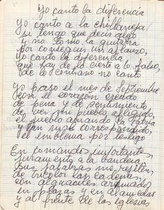 Violeta Parra Any Book, Handwriting, America, Frases, Romanticism, Composers, Authors, Atelier
