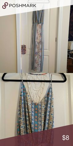 Pastel Maxi Dress NWOT Cute pastel-palette maxi dress, never worn! Cinches at waist. Fits like a M/L Dresses Maxi