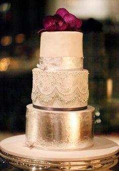 luxury glamorous metalic gold wedding cake