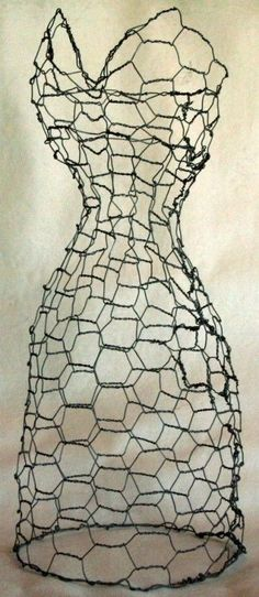 chicken wire dress form ... make one of these for the garden and would love great with morning glories on it by pamela
