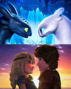 Toothless and the light fury ~ Hiccup and Astrid Disney Pixar, Arte Disney, Disney And Dreamworks, Hiccup And Toothless, Hiccup And Astrid, Httyd 3, How To Train Dragon, How To Train Your, Wallpaper Fofos