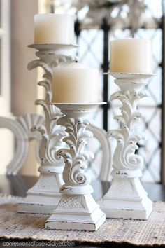 Candlesticks updated with chalk paint from Confessions of a Serial Do-it-Yourselfer Thrift Store Diy Clothes, Thrift Store Crafts, Crafts To Sell, Thrift Stores, Pillar Candle Holders, Pillar Candles, Candle Stands, Candleholders, Gris Rose