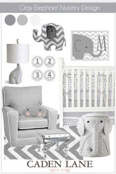 An elephant themed nursery that's not overdone with Caden Lane's Gray Mod Baby Bedding.