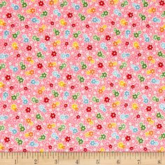 Riley Blake Backyard Roses Floral Pink from @fabricdotcom  Designed by Nadra Ridgeway for Riley Blake Designs, this shabby chic collection is perfect for quilting, apparel, and home decor accents. Colors include pink, white, green, orange, yellow, and red.