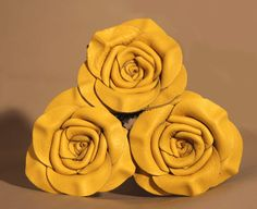 Yellow Leather Rose Bouquet 3 roses 3rd by LeatherNstuff on Etsy