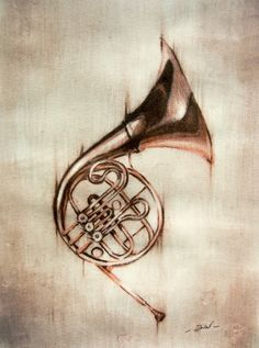Conte' Pencil and Water Color French Horn