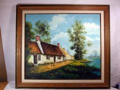 http://stores.ebay.com/mariasantiqueandvintage Vintage Oil on Canvas Original Painting English Cottage Chickens Scenic River #Realism